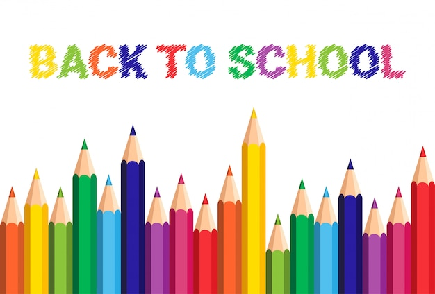 学校へ戻るポスターカラフルクレヨン鉛筆