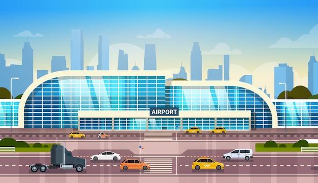 Здание аэропорта, современный терминал, экстерьер с автомобилями