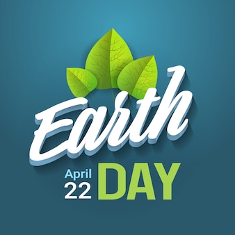 青い背景にレタリング地球の日タイポグラフィハッピーホリデーグリーティングカードデザイン