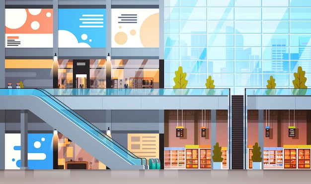多くのショップやスーパーマーケットの空のインテリアが付いている現代小売店