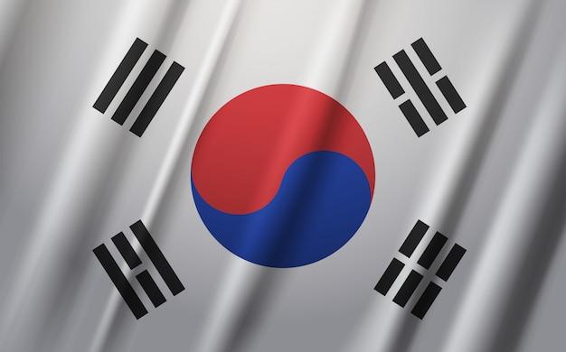 Флаг южной кореи развевается на ветру