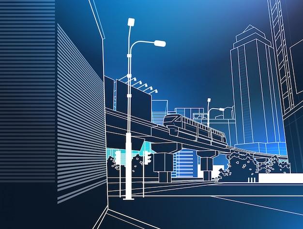 青い背景の細い線の上の近代的な都市景観鉄道橋