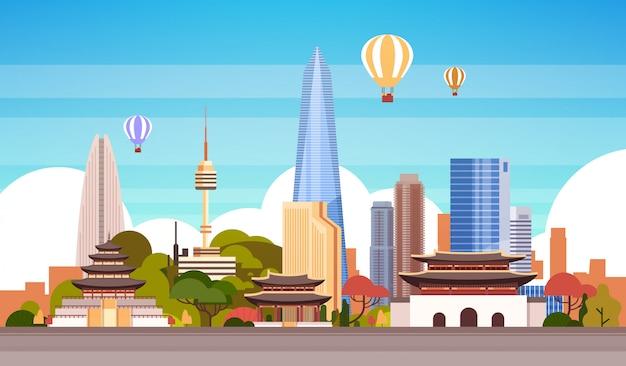 気球飛行でソウル市背景スカイラインビュー