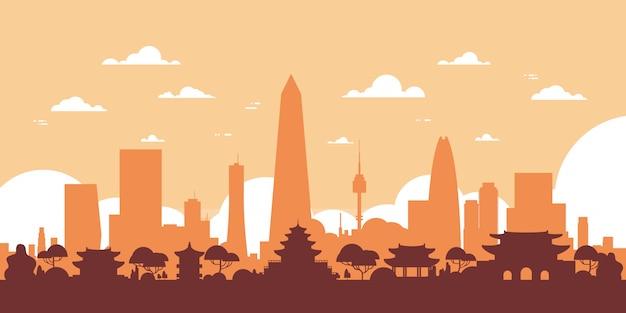 高層ビルやランドマークとソウルシルエットスカイライン韓国シティビュー