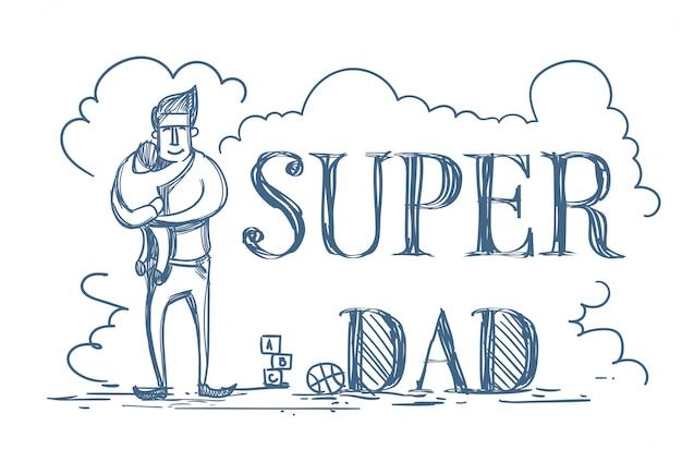 子供を抱きしめる男とスーパーお父さん落書きポスター