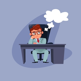 事務机の思考に座ってエレガントなスーツの漫画ビジネスマン