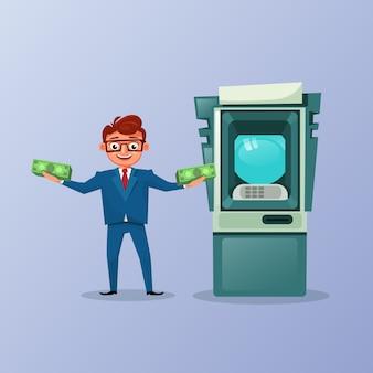Богатый деловой человек держит деньги наличными за банкомат фон