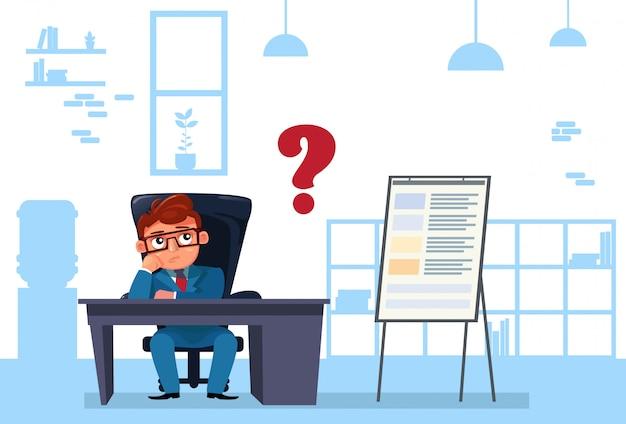 ビジネスマンは、熟考して考えて事務机に座る