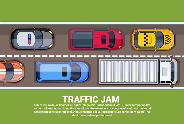 Пробка на шоссе вид сверху с дорогой, полной разных автомобилей