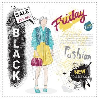 手描きのファッションモデルとブラックフライデーのセールテンプレート