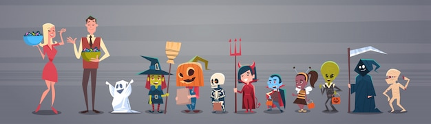 Счастливый хэллоуин баннер с мужчиной и женщиной, дарить конфеты милый мультфильм монстров