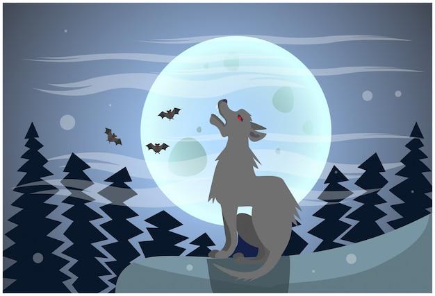 Волк воет на луну ночью счастливого хэллоуина