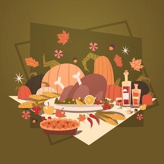 幸せな感謝祭の秋の伝統的な収穫ホリデーグリーティングカード