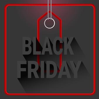 赤いショッピングタグとブラックフライデーの休日割引ラベル