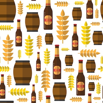 オクトーバーフェストフェスティバルのテーマのシームレスパターンビール樽とボトル