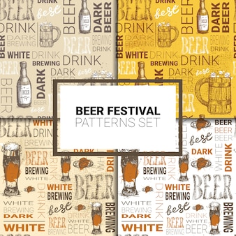 オクトーバーフェストのシームレスパターンセットドイツビール祭り