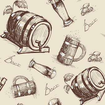 ビール樽シームレスパターンオクトーバーフェスト