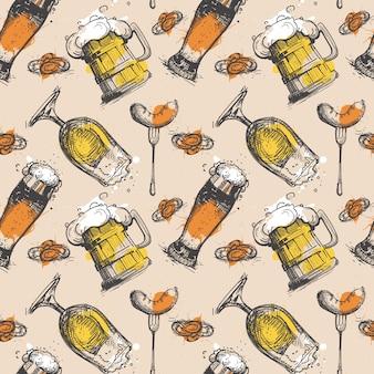 ビールのシームレスパターンオクトーバーフェスト