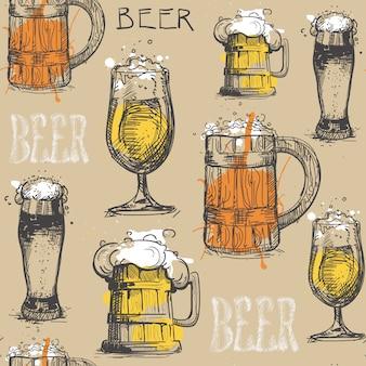 ビールグラスのシームレスパターン