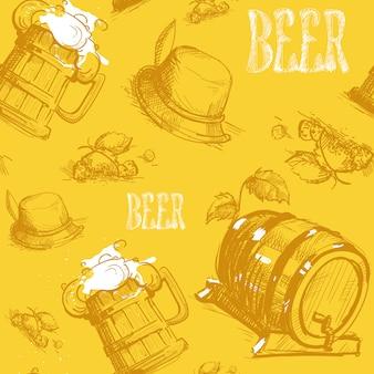 ビール樽シームレスパターンオクトーバーフェストフェスティバル