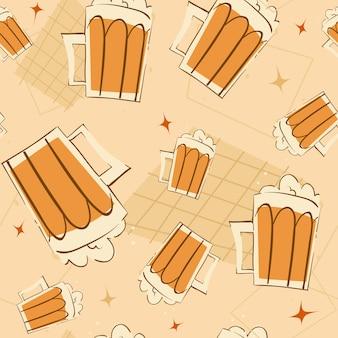 ビールジョッキのシームレスパターン