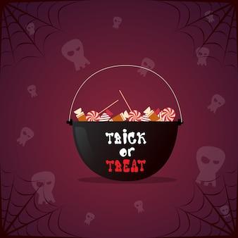 Горшок ведьмы с зельем и черепом. счастливый хэллоуин украшение ужас