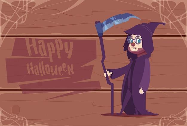 Милый костюм смерти износа малыша, счастливая концепция торжества хеллоуина