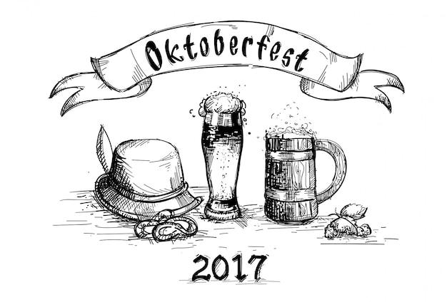 ビールグラススケッチマグオクトーバーフェストフェスティバル