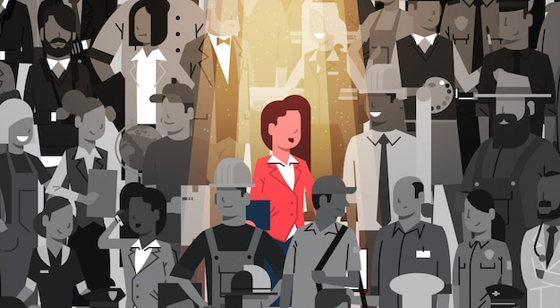 Предприниматель лидер выделиться из толпы индивидуальный, нанимать центр внимания подбор человеческих ресурсов кандидатура люди группа бизнес команда концепция