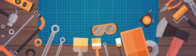 修理および建設作業ツール、機器のコレクションのセット