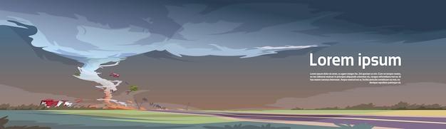 嵐の竜巻の田舎のハリケーン風景で竜巻フィールド自然災害の概念でツイスター