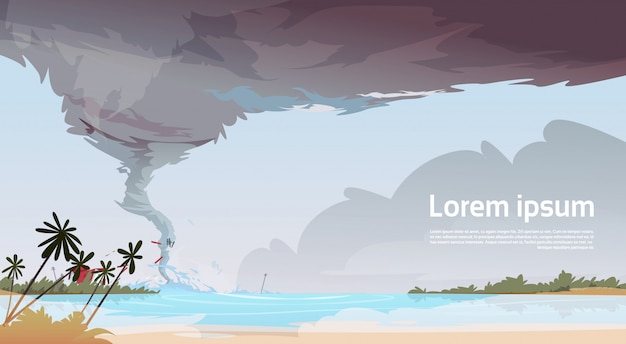 オーシャンビーチの海のハリケーンから着信竜巻