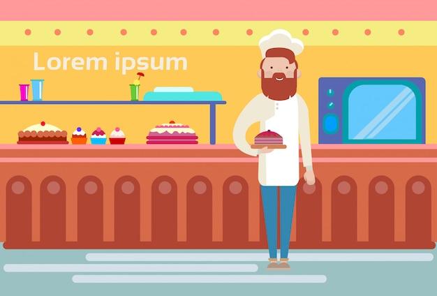 Шеф-повар повар бейкер в пекарне интерьер магазина
