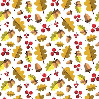 黄色の葉飾り秋の秋のシームレスパターン