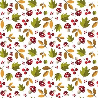 Осенний бесшовный узор желтые листья орнамент осенний сезон