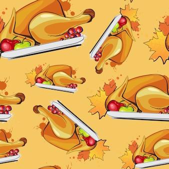 幸せな感謝祭のシームレスパターンローストターキーと秋の伝統的なグリーティングカード