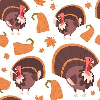 秋のシームレスパターン幸せな感謝祭のコンセプトトルコの伝統的な飾り