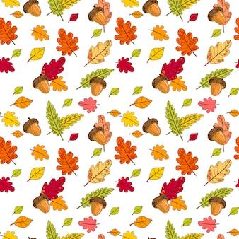 秋のシームレスなパターンカラフルな葉飾り秋シーズン