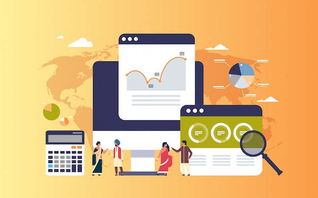 Индийский бизнес люди граф диаграмма финансы анализ данных калькулятор баннер
