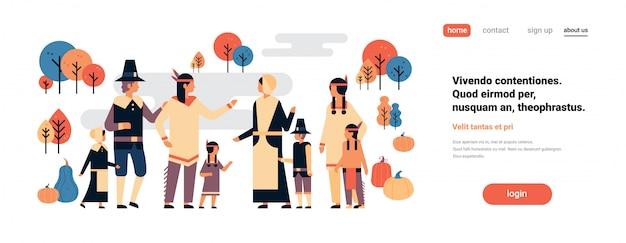 ネイティブアメリカンインディアンの人々の感謝祭の日を祝うバナー