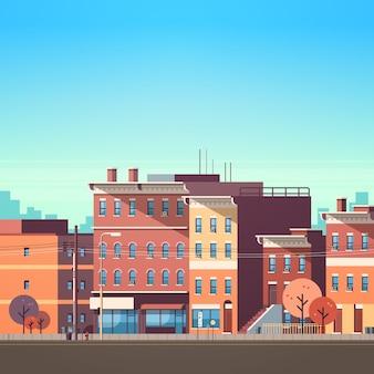 都市の建物の家ビュースカイラインの背景