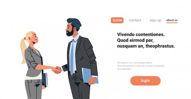 ビジネスカップル握手バナー