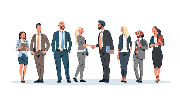 ビジネス人グループ握手バナー