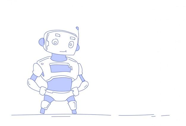 現代のロボットかわいいボットヘルパー人工知能