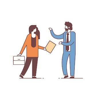 ビジネス会議の同僚コミュニケーション概念男性女性漫画キャラクター完全な長さの分離を議論するカップル男性女性