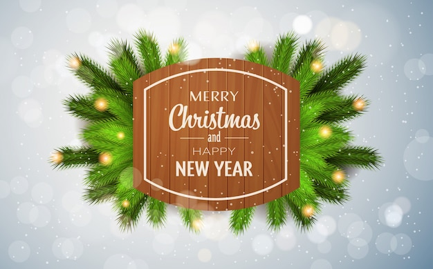 メリークリスマス新年あけましておめでとうございます現実的なモミの枝装飾きらびやかなライト水平フラット