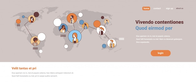 ミックスレース人々アバターソーシャルメディアグローバルコミュニケーションコンセプトインターネットネットワーク接続世界地図