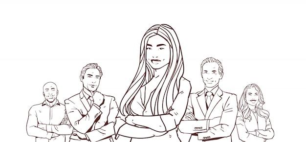 Предприниматель босс с группой деловых людей успешной команды