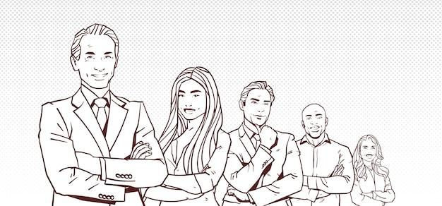 Бизнесмен босс с группой деловых людей успешных ведущих бизнесменов команды
