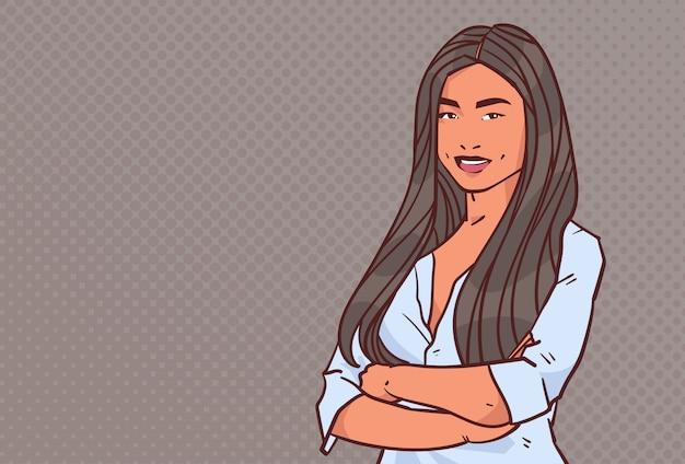 Молодой предприниматель сложить руки поза деловая женщина улыбка женский мультфильм